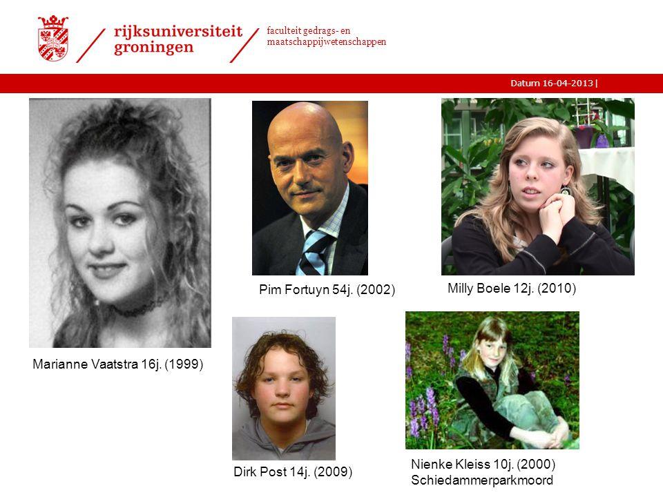 Pim Fortuyn 54j. (2002) Milly Boele 12j. (2010) Marianne Vaatstra 16j. (1999) Nienke Kleiss 10j. (2000)