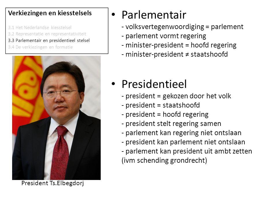 Parlementair - volksvertegenwoordiging = parlement - parlement vormt regering - minister-president = hoofd regering - minister-president ≠ staatshoofd