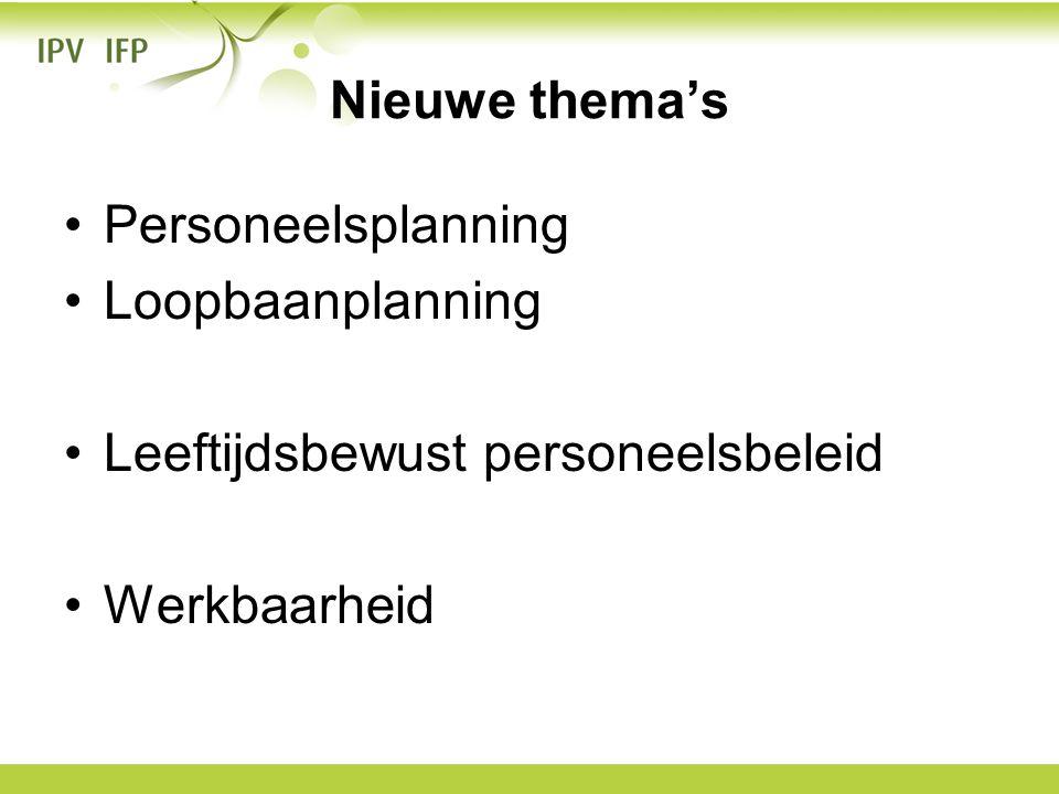 Nieuwe thema's Personeelsplanning Loopbaanplanning Leeftijdsbewust personeelsbeleid Werkbaarheid