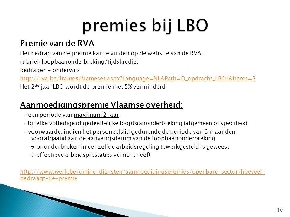 premies bij LBO Premie van de RVA