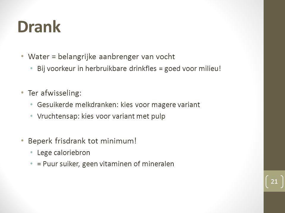 Drank Water = belangrijke aanbrenger van vocht Ter afwisseling: