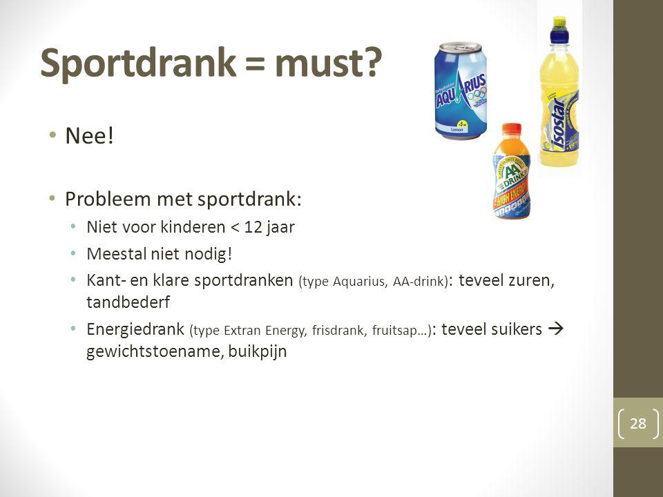 Sportdrank = must Nee! Probleem met sportdrank: