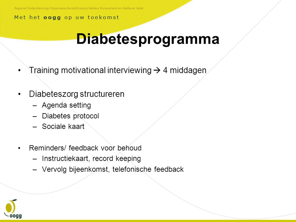 Diabetesprogramma Training motivational interviewing  4 middagen