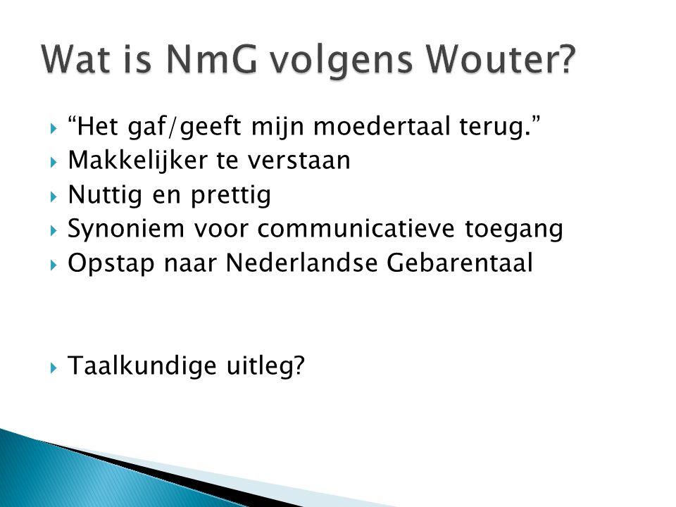 Wat is NmG volgens Wouter