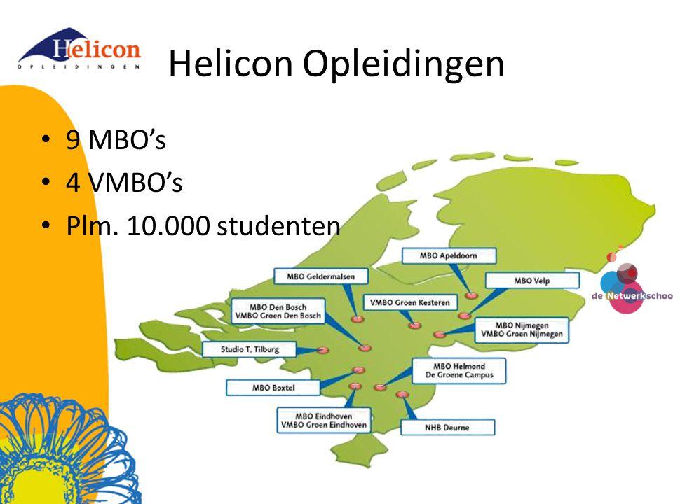 Helicon Opleidingen 9 MBO's 4 VMBO's Plm. 10.000 studenten