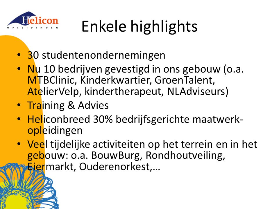 Enkele highlights 30 studentenondernemingen
