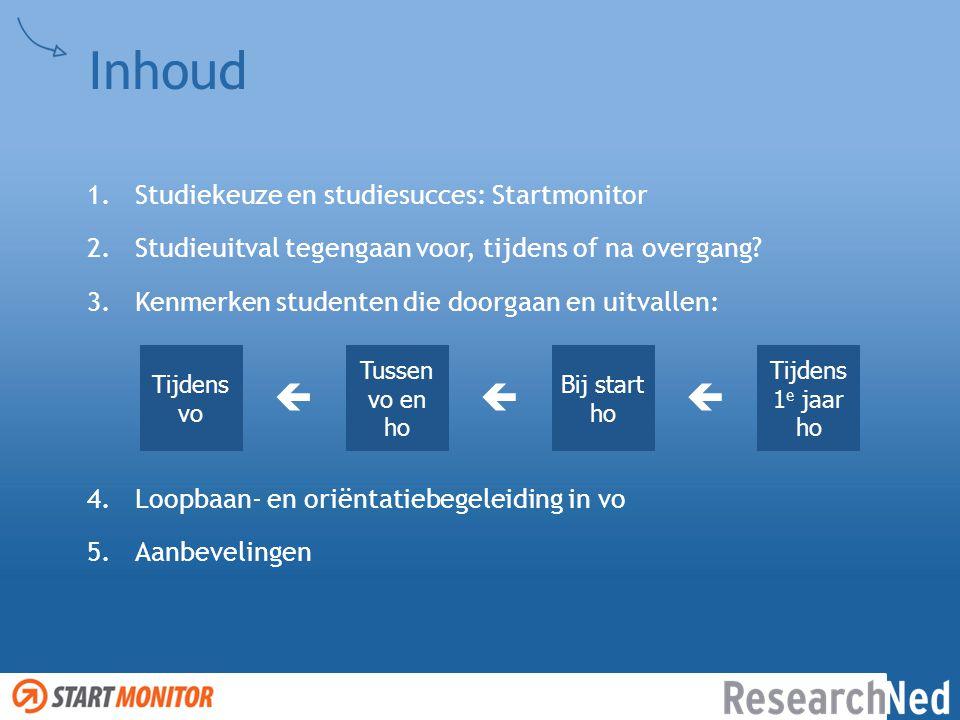 Inhoud  Studiekeuze en studiesucces: Startmonitor