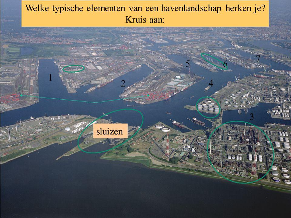 Welke typische elementen van een havenlandschap herken je Kruis aan: