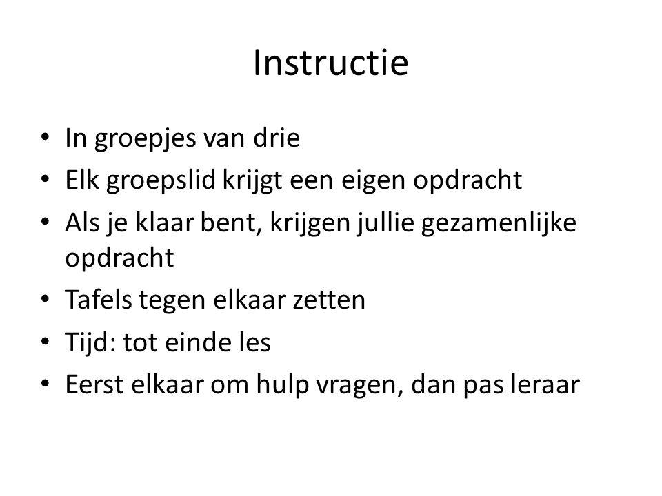 Instructie In groepjes van drie