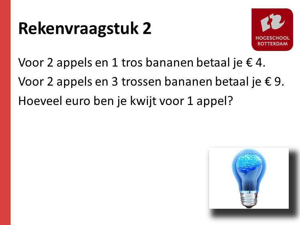 Rekenvraagstuk 2 Voor 2 appels en 1 tros bananen betaal je € 4.