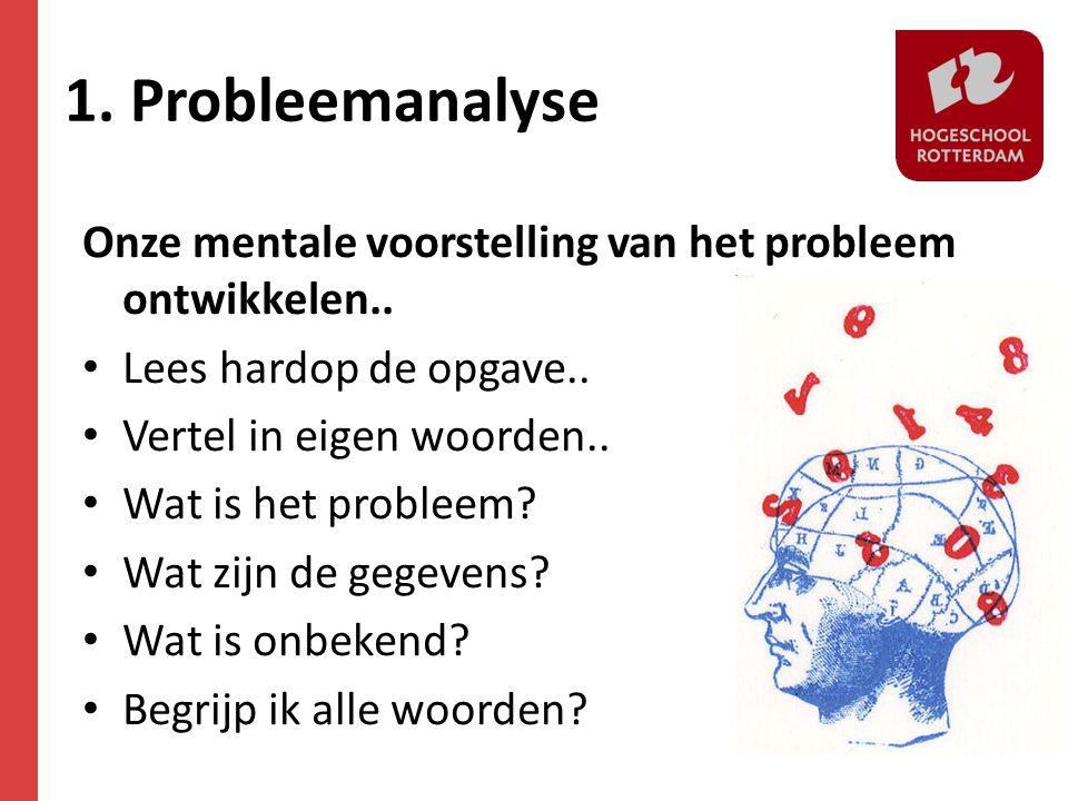 1. Probleemanalyse Onze mentale voorstelling van het probleem ontwikkelen.. Lees hardop de opgave..