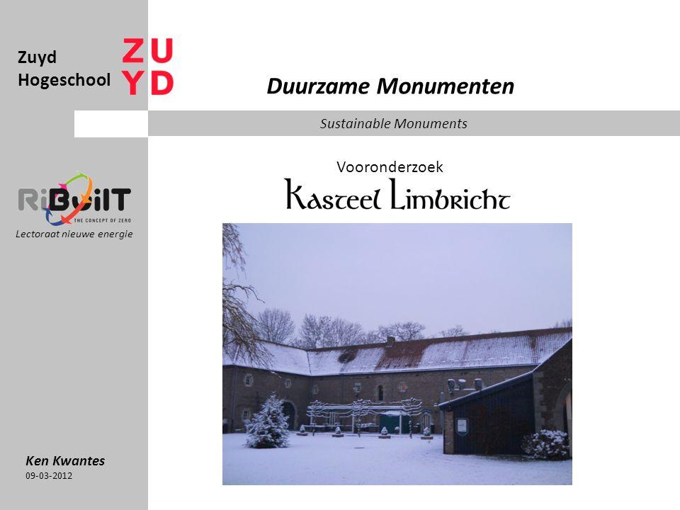 Duurzame Monumenten Zuyd Hogeschool Vooronderzoek