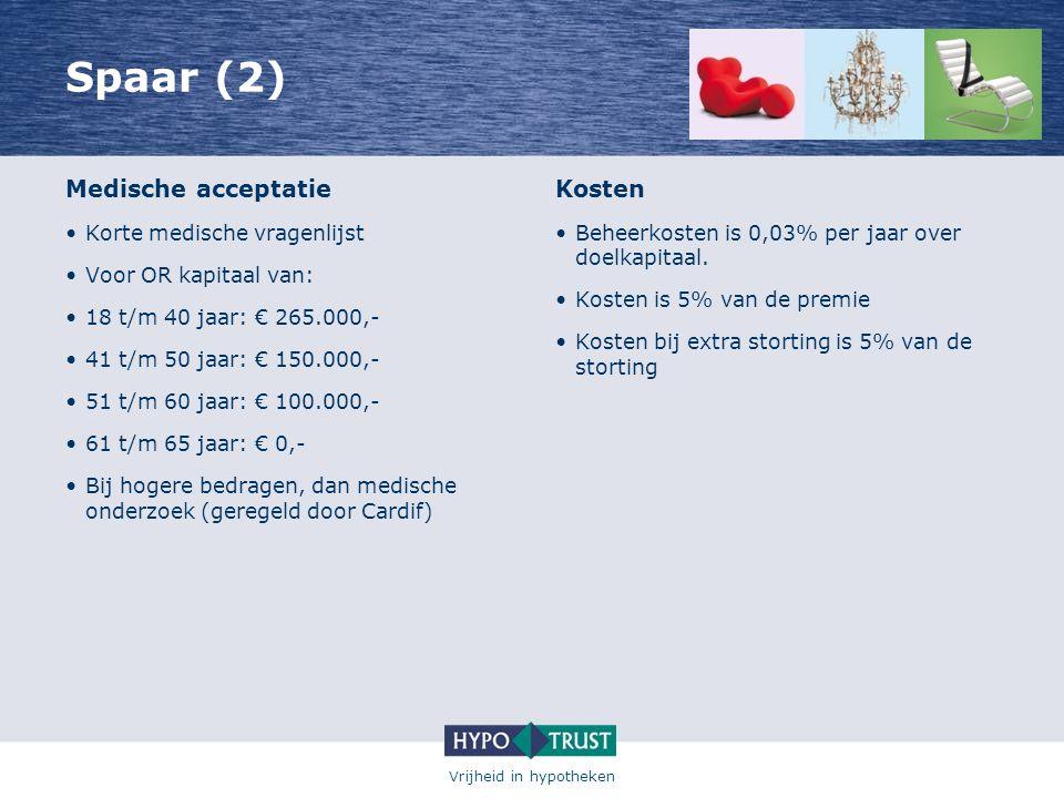 Spaar (2) Medische acceptatie Kosten Korte medische vragenlijst