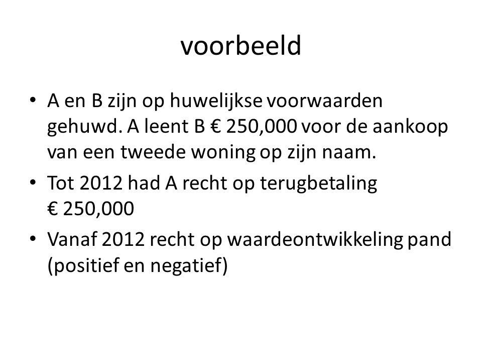 voorbeeld A en B zijn op huwelijkse voorwaarden gehuwd. A leent B € 250,000 voor de aankoop van een tweede woning op zijn naam.