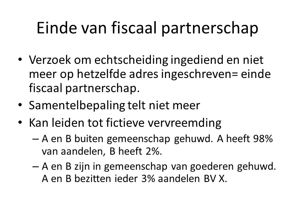 Einde van fiscaal partnerschap