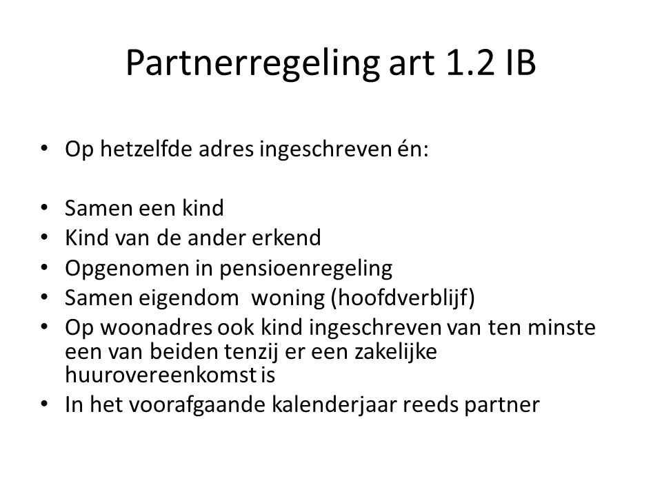 Partnerregeling art 1.2 IB