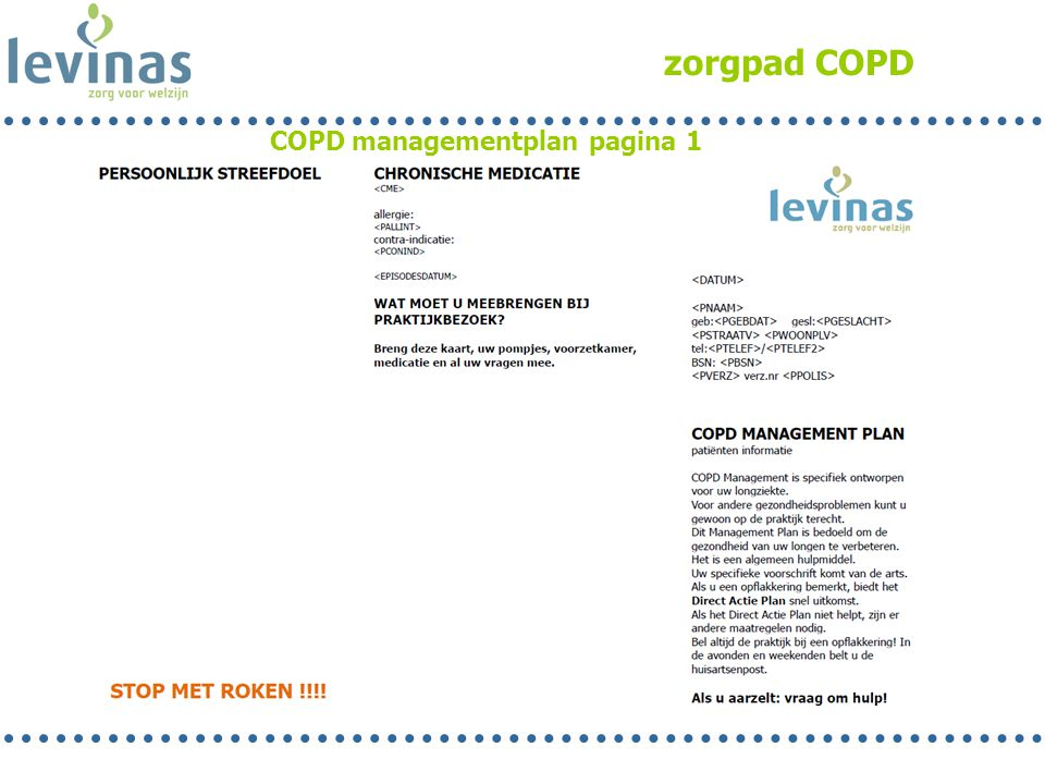 zorgpad COPD COPD managementplan pagina 1 Corine