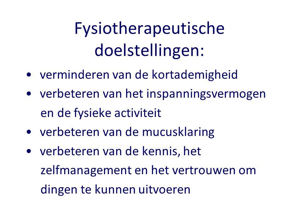 Fysiotherapeutische doelstellingen: