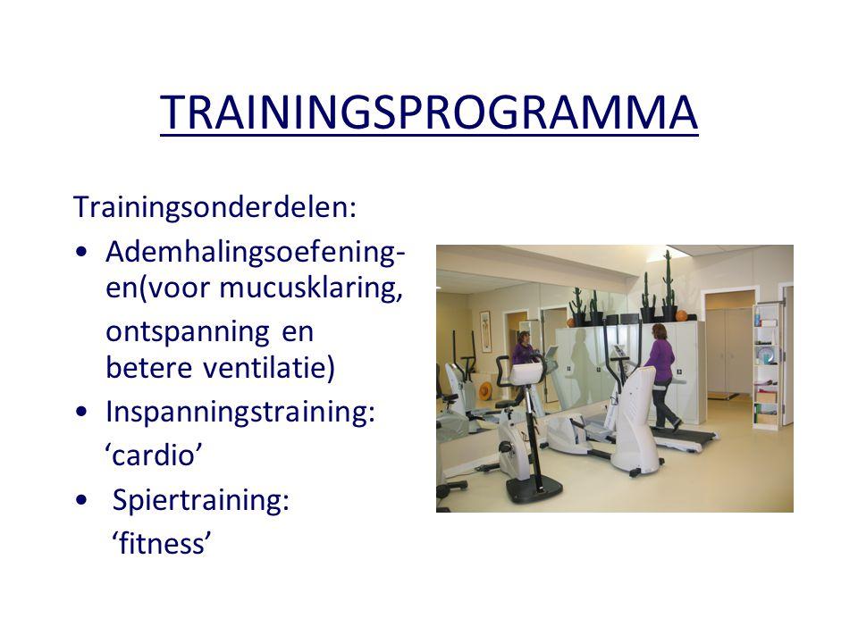TRAININGSPROGRAMMA Trainingsonderdelen: