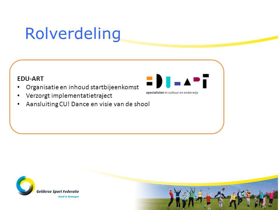 Rolverdeling EDU-ART Organisatie en inhoud startbijeenkomst