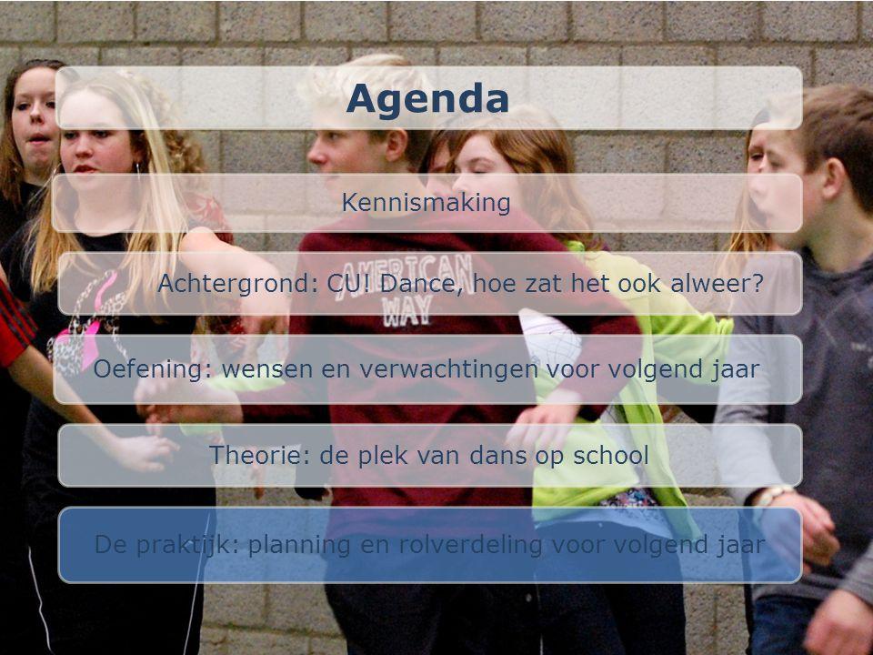 Agenda Kennismaking Achtergrond: CU! Dance, hoe zat het ook alweer