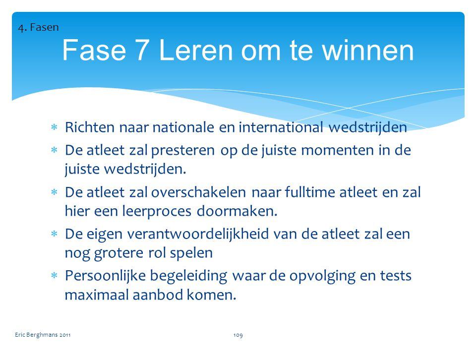 4. Fasen Fase 7 Leren om te winnen. Richten naar nationale en international wedstrijden.