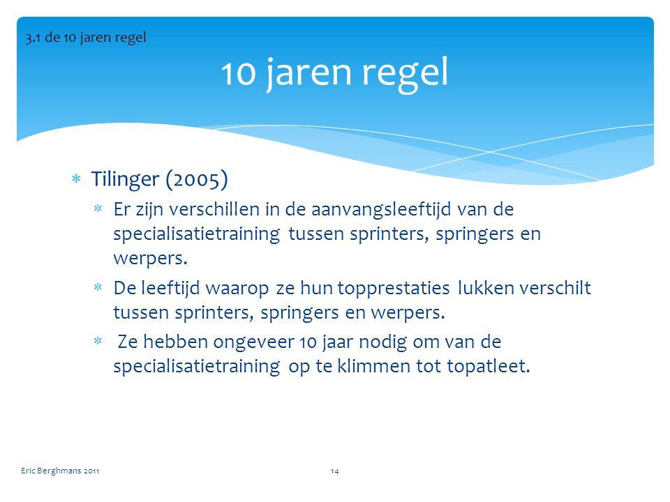 10 jaren regel Tilinger (2005)