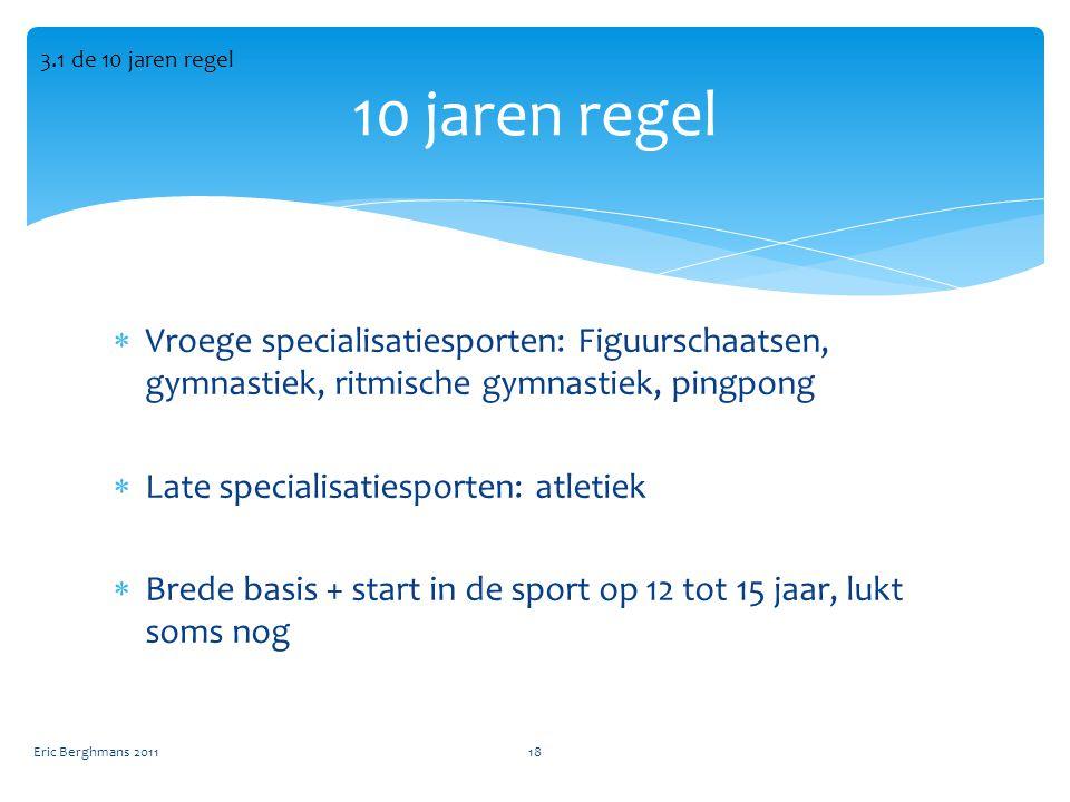 3.1 de 10 jaren regel 10 jaren regel. Vroege specialisatiesporten: Figuurschaatsen, gymnastiek, ritmische gymnastiek, pingpong.