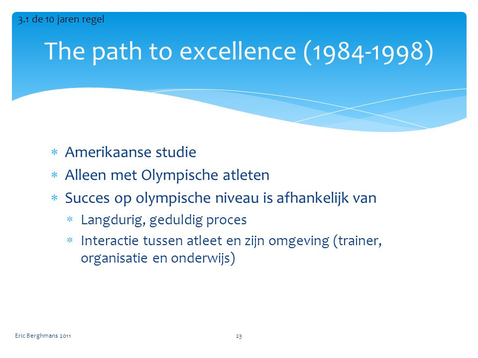 The path to excellence (1984-1998)