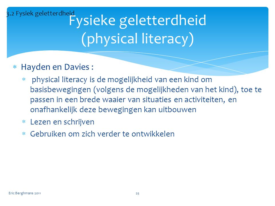 Fysieke geletterdheid (physical literacy)