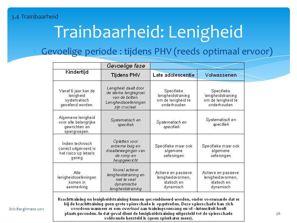Trainbaarheid: Lenigheid