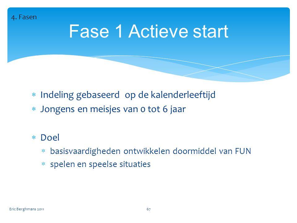 Fase 1 Actieve start Indeling gebaseerd op de kalenderleeftijd