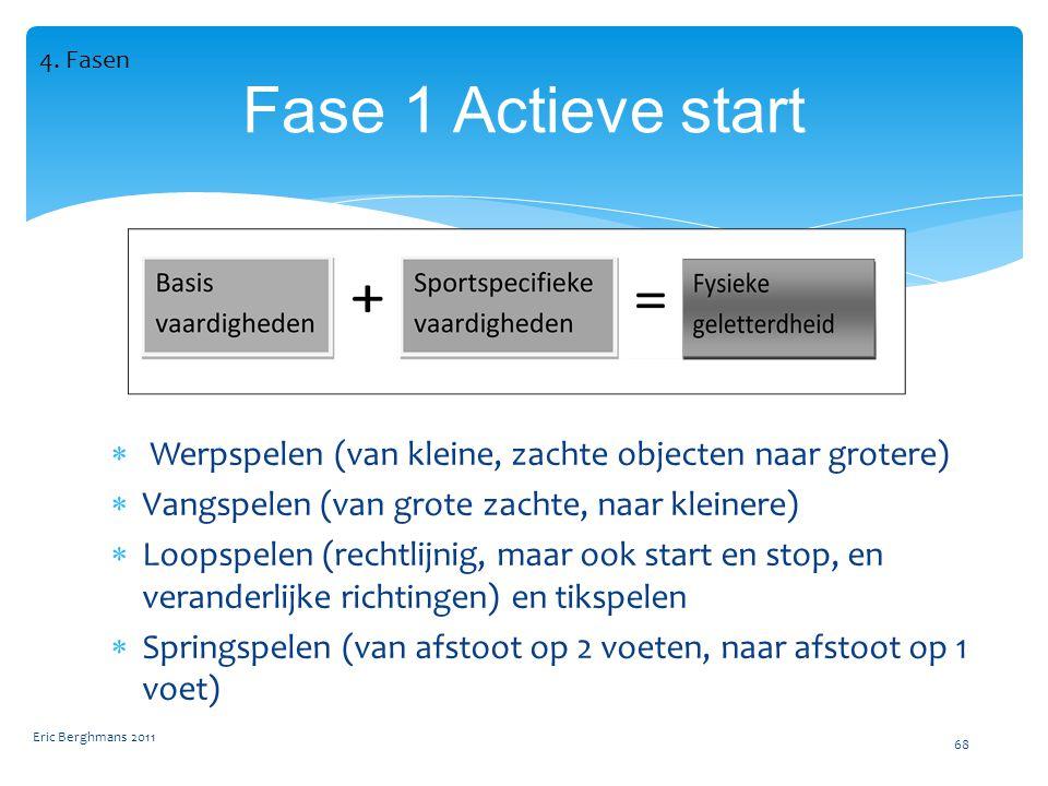 4. Fasen Fase 1 Actieve start. Werpspelen (van kleine, zachte objecten naar grotere) Vangspelen (van grote zachte, naar kleinere)