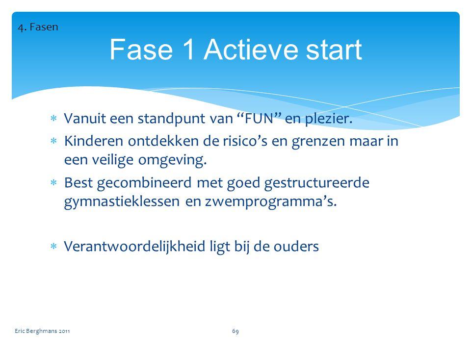 Fase 1 Actieve start Vanuit een standpunt van FUN en plezier.