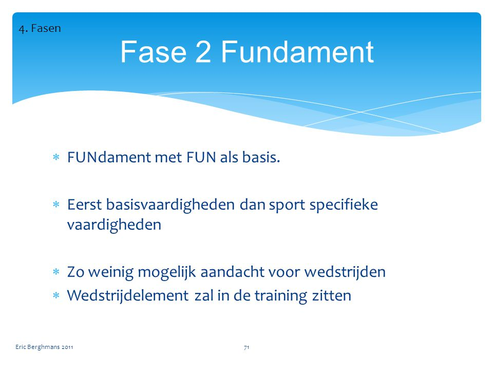 Fase 2 Fundament FUNdament met FUN als basis.