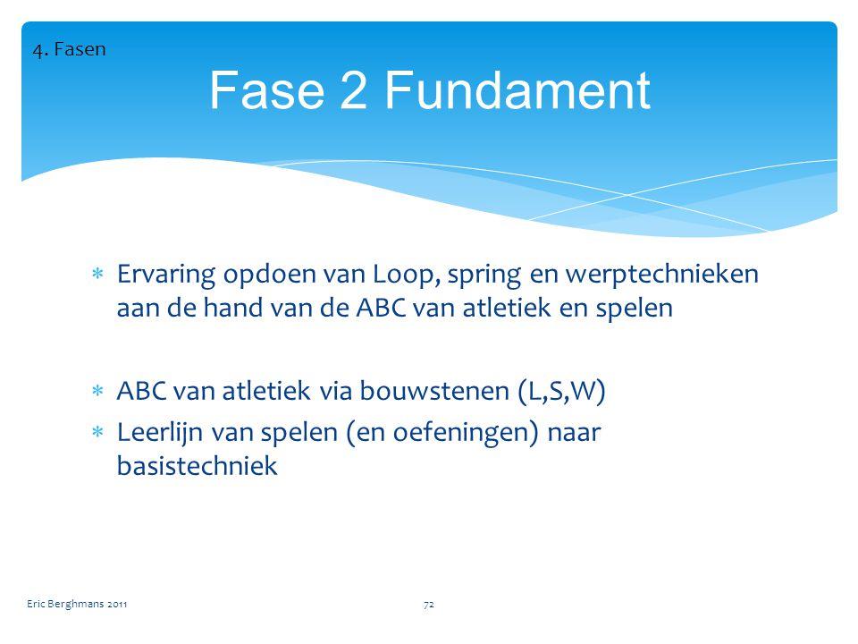 4. Fasen Fase 2 Fundament. Ervaring opdoen van Loop, spring en werptechnieken aan de hand van de ABC van atletiek en spelen.