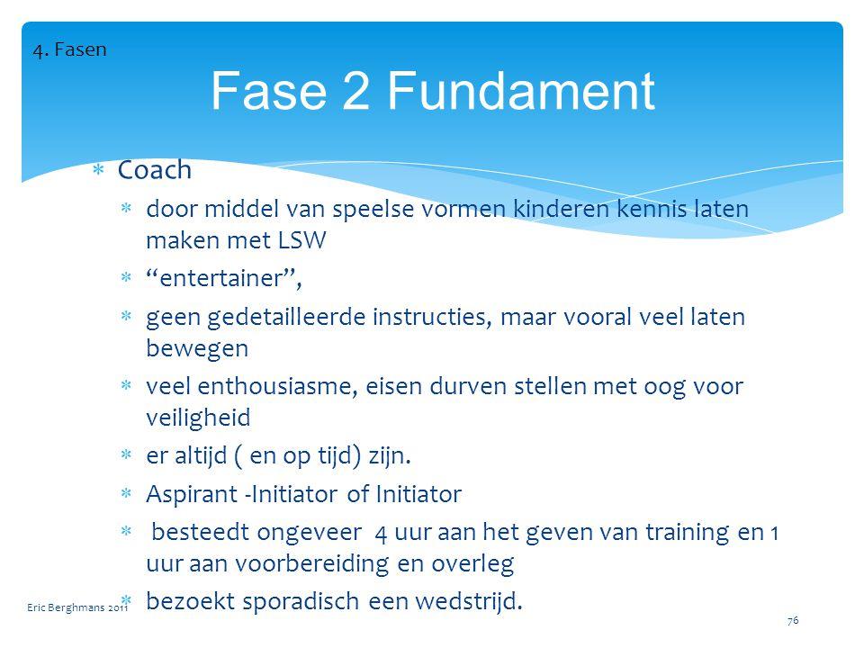 4. Fasen Fase 2 Fundament. Coach. door middel van speelse vormen kinderen kennis laten maken met LSW.