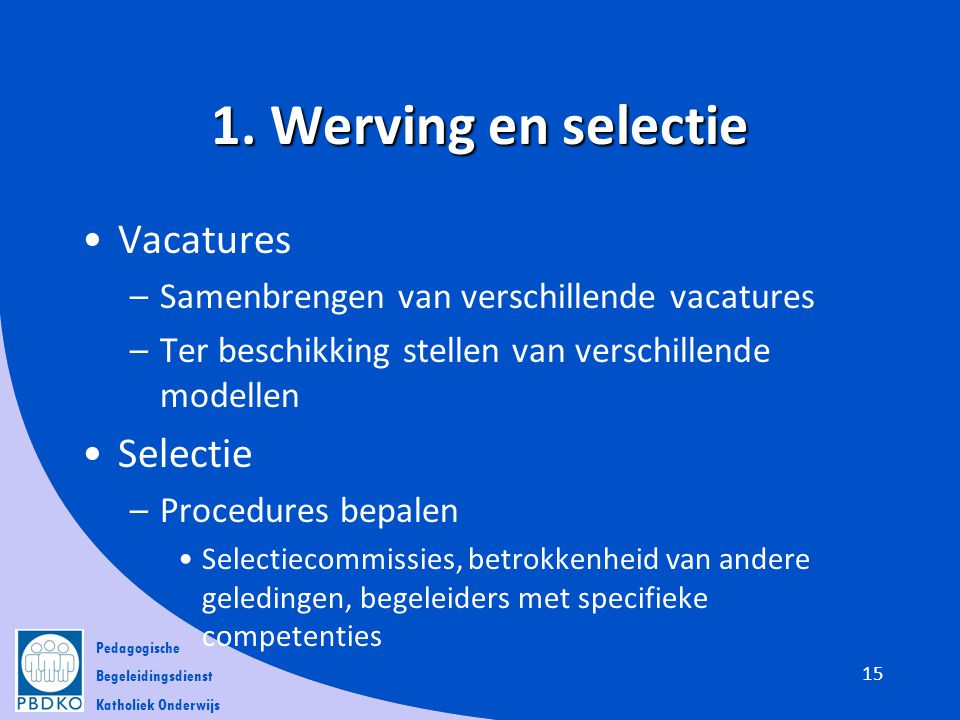 1. Werving en selectie Vacatures Selectie