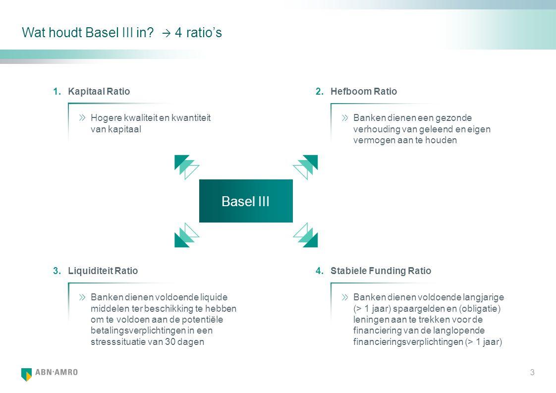 Wat houdt Basel III in  4 ratio's