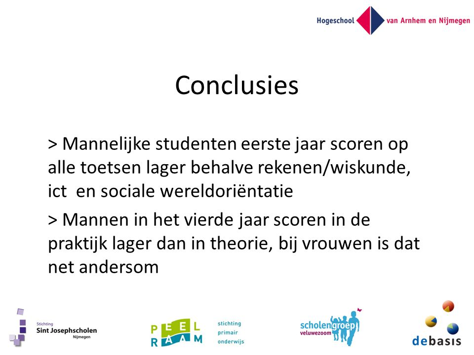 Conclusies > Mannelijke studenten eerste jaar scoren op alle toetsen lager behalve rekenen/wiskunde, ict en sociale wereldoriëntatie.
