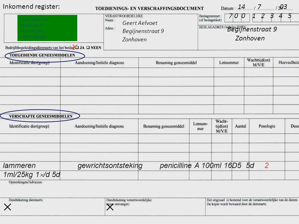    14 7 03 Inkomend register: 7 0 0 1 2 3 4 5 Begijnenstraat 9