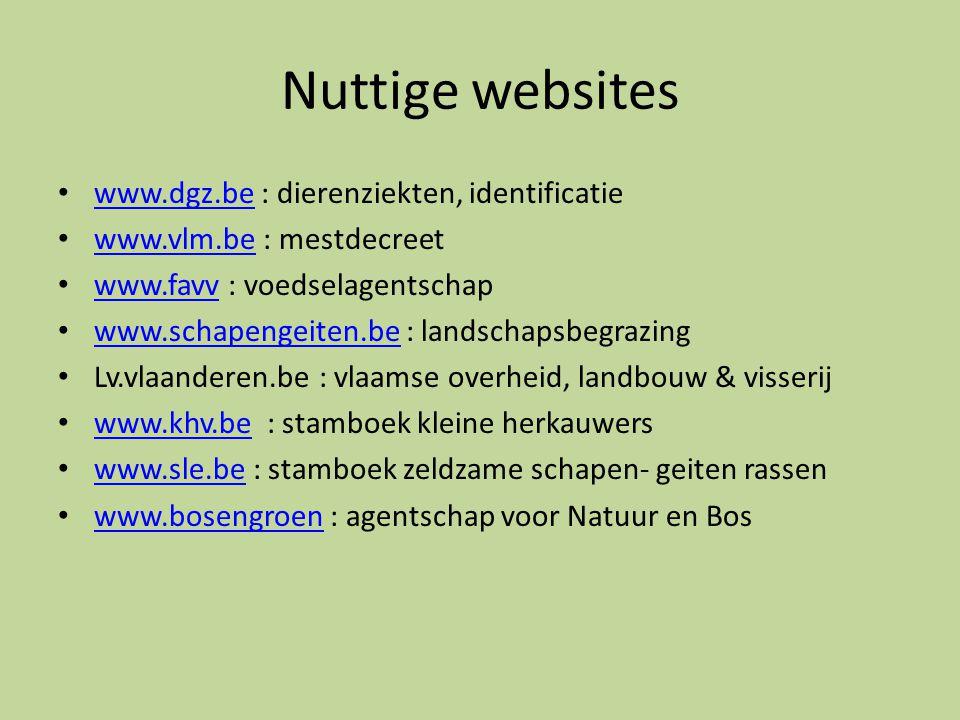 Nuttige websites www.dgz.be : dierenziekten, identificatie
