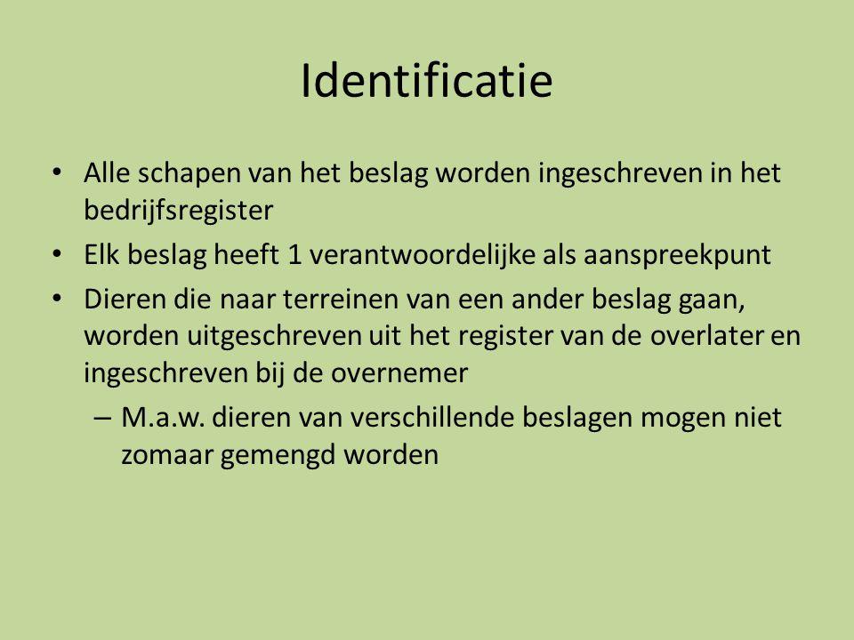 Identificatie Alle schapen van het beslag worden ingeschreven in het bedrijfsregister. Elk beslag heeft 1 verantwoordelijke als aanspreekpunt.