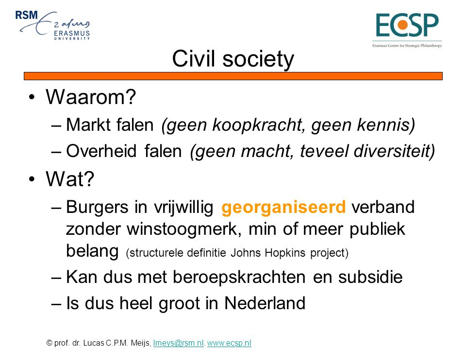 Civil society Waarom Wat Markt falen (geen koopkracht, geen kennis)