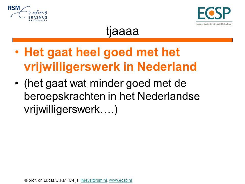 Het gaat heel goed met het vrijwilligerswerk in Nederland