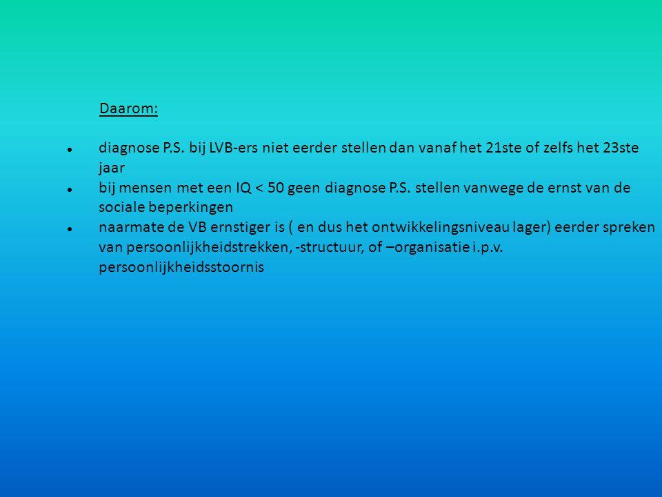 Daarom: diagnose P.S. bij LVB-ers niet eerder stellen dan vanaf het 21ste of zelfs het 23ste jaar.