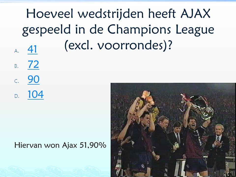 Hoeveel wedstrijden heeft AJAX gespeeld in de Champions League (excl