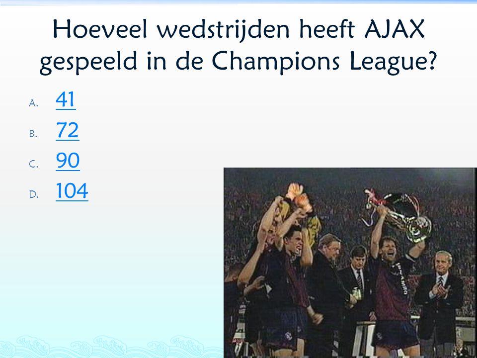 Hoeveel wedstrijden heeft AJAX gespeeld in de Champions League