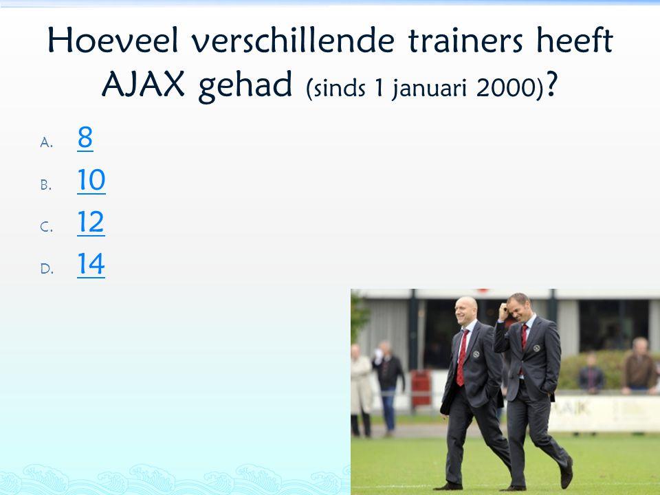 Hoeveel verschillende trainers heeft AJAX gehad (sinds 1 januari 2000)