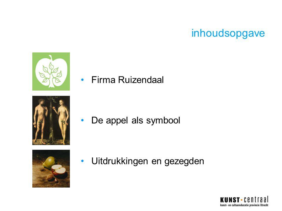 inhoudsopgave Firma Ruizendaal De appel als symbool